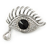 Teardrop And Eye Clear, Black Crystal Brooch In Rhodium Plating - 40mm
