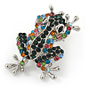 Multicoloured Crystal Frog/ Toad Brooch In Silver Tone Metal - 35mm L