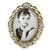 Audrey Hepburn Portrait Crystal Brooch In Gold Tone Metal - 55mm L