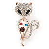 Crystal Fox Brooch In Rose Gold Metal - 50mm L