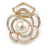 Diamante Faux Pearl Rose Scarf Pin/ Brooch In Gold Tone - 40mm Across
