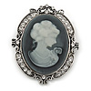 Diamante Grey Cameo Scarf Pin/ Brooch In Silver Tone - 55mm Across