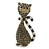 Vintage Inspired Dim Grey/ Milky White Crystal Cat Brooch In Antique Gold Tone Metal - 55mm L