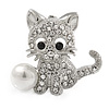 Clear Crystal Little Kitten with Pearl Bead Brooch In Silver Tone Metal - 30mm L