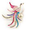 Multicoloured Enamel, Crystal Exotic Bird Brooch In Gold Tone Metal - 55mm L