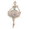 Clear/ AB Crystal Ballerina Brooch In Gold Tone Metal - 57mm L