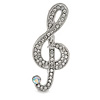 Clear Crystal Treble Clef Brooch In Silver Tone Metal - 45mm L