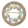 AB/ Crystal Round Button Shape Brooch In Gold Tone - 35mm D