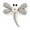 Classic Crystal, Faux Pearl Dragonfly Brooch In Silver Tone Metal - 40mm L