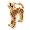 Adorable Light Topaz Crystal Cat Brooch In Gold Tone Metal - 40mm L