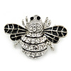 Little Clear Crystal, Black Enamel Bee Brooch In Silver Tone - 35mm W