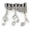 Silver Plated Clear Crystal Music Keyboard with Dangling Music Notes Brooch - 40mm W