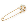 Gold Plated Safety Pin with Faux Pearl, Crystal Flower - 75mm