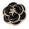 35g Black/ White Enamel Rose Brooch In Gold Tone Metal - 47mm Diameter