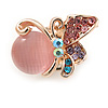 Tiny Multicoloured Butterfly Pin Brooch In Gold Tone Metal - 22mm W