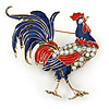 Large Red/ Blue Enamel, AB Crystal Rooster Brooch In Antique Gold Tone Metal - 60mm