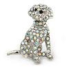 AB Crystal Dog Brooch In Silver Tone Metal - 35mm L