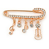 Medium Gold Tone Crystal Safety Pin Brooch with Musical Note Charms - 50mm