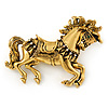 Vintage Inspired Horse Brooch In Gold Tone Metal - 50mm W
