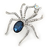 Clear/ Midnight Blue Crystal Spider Brooch In Silver Tone Metal - 50mm L