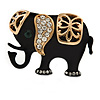 Ethical Crystal Black Elephant Brooch In Gold Tone Metal - 35mm W