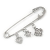 Silver Plated Safety Pin Brooch with Crystal Charms - 65mm L