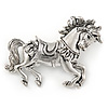 Vintage Inspired Horse Brooch In Silver Tone Metal - 50mm W