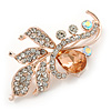Fancy Clear/ Champagne Crystal Floral Brooch In Rose Gold Tone Metal - 50mm L