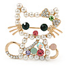 Funky Japanese Style Crystal, Faux Pearl Cat Brooch In Gold Tone Metal - 40mm L