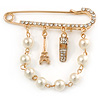 Gold Plated Safety Pin Brooch With Pearl Bead Chain and Charms - 65mm