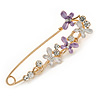 Large Enamel, Crystal Safety Pin Brooch with Dragonfly Motif In Gold Tone Metal - 80mm L