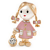 Funky Pink Enamel, Pearl Bead Doll Brooch with Crystal Purse In Gold Tone Metal - 40mm L