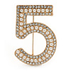 Figure of ''5'' Faux Pearl Crystal Brooch In Gold Tone Metal - 40mm L