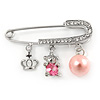 Medium Crystal Safety Pin Brooch with Charms In Silver Plated Metal - 50mm