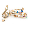 Gold Plated Multicoloured Crystal Musical Notes Brooch - 50mm L