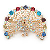 Statement Multicoloured Peacock Brooch In Gold Plated Metal - 58mm W
