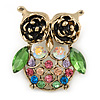 Vintage Inspired Multicoloured Crystal Owl Brooch In Aged Gold Tone - 40mm L