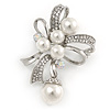 Clear Crystal Faux Glass Pearl Bow Brooch In Silver Tone Metal - 50mm L
