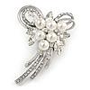 Fancy Faux Pearl, Clear Crystal Bow Brooch In Silver Tone Metal - 65mm L