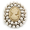 Victorian Inspired Faux Pearl Cameo Brooch In Antique Gold Tone - 55mm