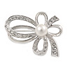 Small Crystal Faux Pearl Bow Brooch In Rhodium Plated Metal - 40mm L
