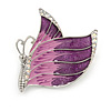 Pink/ Purple Enamel AB crystal Butterfly Brooch In Rhodium Plated Metal - 45mm