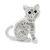 Small Clear Crystal Kitten Brooch In Rhodium Plated Metal - 28mm L