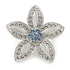 Small Rhodium Plated Clear/ Light Blue Crystal Daisy Brooch - 30mm Diameter