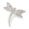 Stunning Small Clear Crystal Dragonfly Brooch In Rhodium Plating - 30mm L
