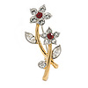 Stunning Two Tone Crystal Double Flower Brooch - 35mm L