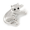 Polished Rhodium Plated Kitten/ Cat Brooch - 35mm L