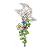Multicoloured Crystal Butterfly and Flower Motif Brooch In Silver Tone Metal - 45mm L