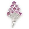 Bouquet of Pink Enamel, Crystal Violet Flowers Brooch In Rhodium Plated Metal - 60mm L