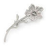 Rhodium Plated Clear Crystal Daisy Flower Brooch - 45mm L